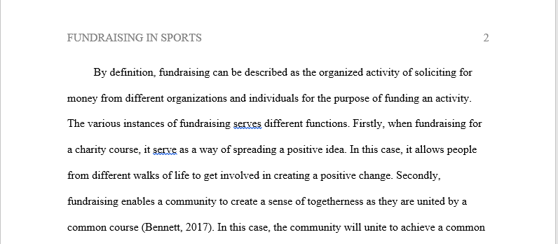fundraising in sports business