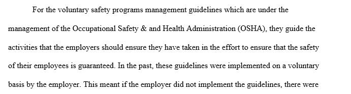 Safety program management guidelines